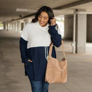 Celeste Blue & White Cowl Neck Sweater w/ Pockets
